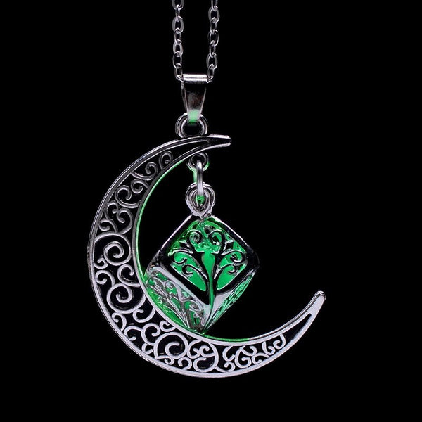 Fluorescence Glow in the Dark Crescent Moon Cube Necklace