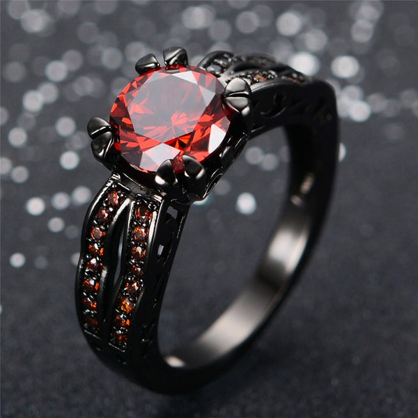 Vintage Black Gold Filled Red Ruby Ring