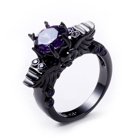 Dark Skull Shape Amethyst Ring
