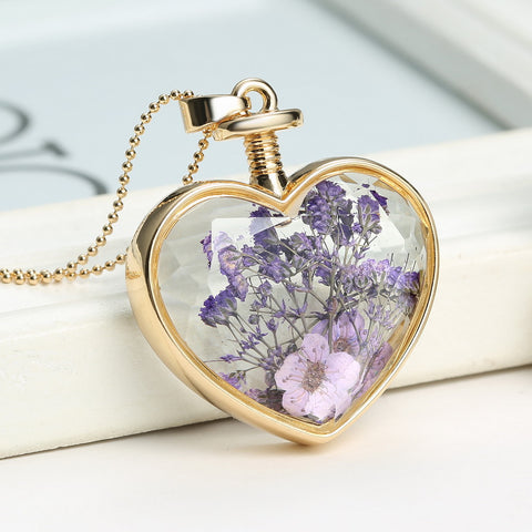 Pressed Flower Heart Shaped Pendant Necklace