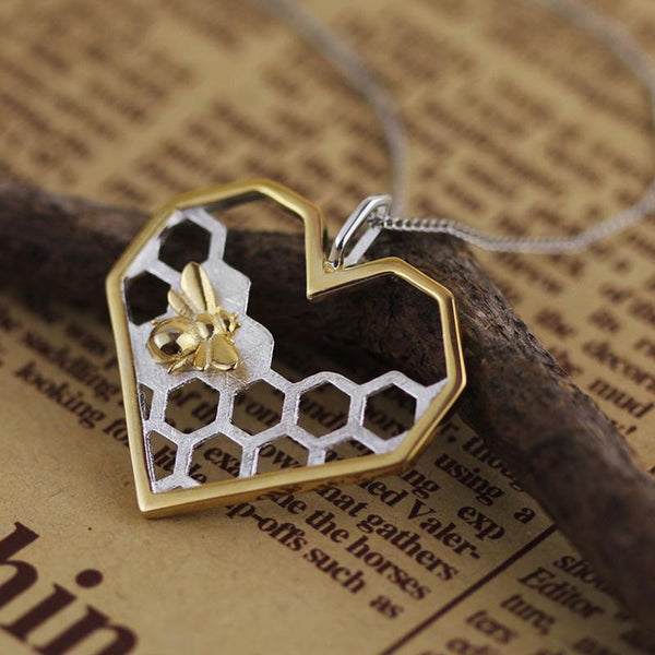 Save The Bees - Honeycomb Heart Necklace