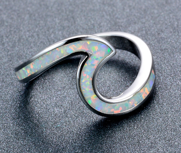 White Fire Opal Wave Ring