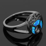 Black Gold Plated Blue Fire Moon Opal Ring