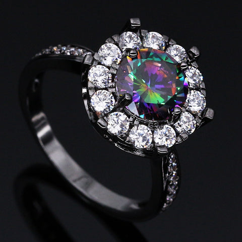 Black Gold Flower Rainbow Cubic Zirconia Ring