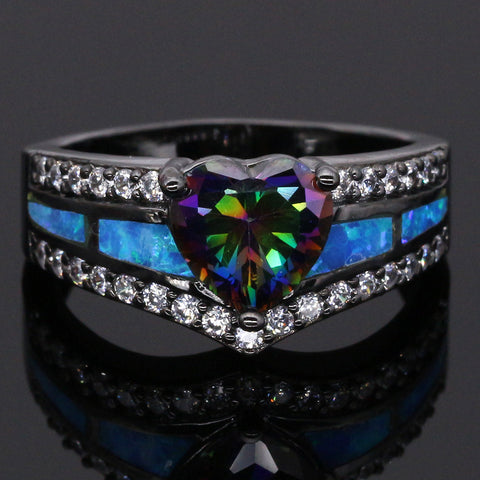 Rainbow Stone Topaz Blue Fire Opal Black Gold Ring