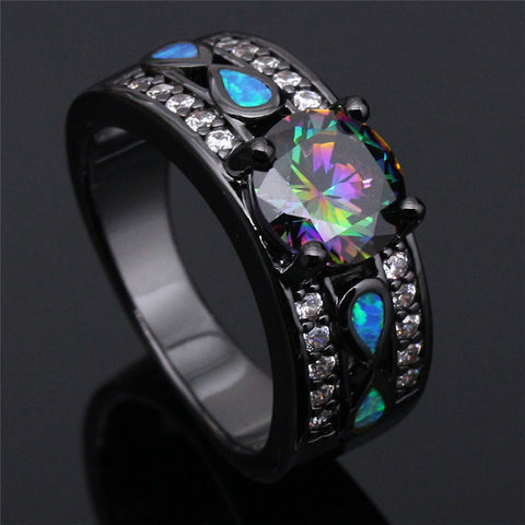 Rainbow Topaz Opal Black Gold Filled Ring