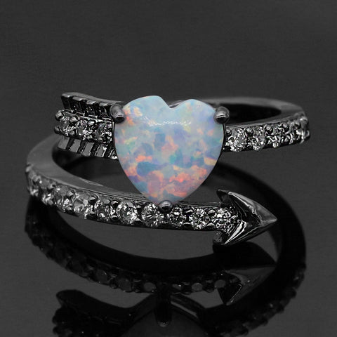 Romantic Cupid Arrow Fire Opal Ring
