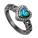 Heart Shaped Blue Fire Opal Ring