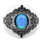 Vintage Pattern Oval Blue Fire Opal Ring