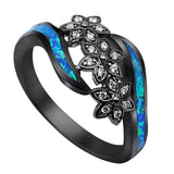 Black Gold Flowers Blue Fire Opal Ring