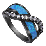 Black Gold Knot Blue Fire Opal Ring