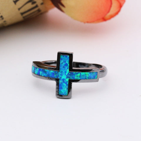 Black Gold Cross Blue Fire Opal Ring