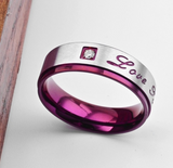 Purple Filled Amethyst Sapphire Zircon Couple Ring