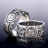 Sun Moon Leaves Pattern Ring