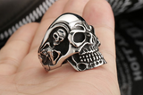 Stainless Steel Skeleton Skull Head Rings