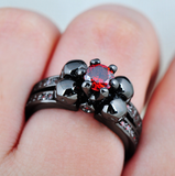Black Gold Filled Red Sapphire Zircon Ring