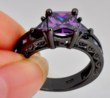 Purple Amethyst Black Gold Filled Ring