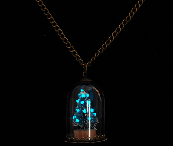 Glow In The Dark Christmas Tree Charm Necklace