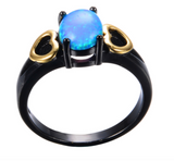 Black Gold Filled Romantic Gold Heart Blue Opal Ring