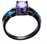 Purple Amethyst Black Gold Filled Fire Opal Ring