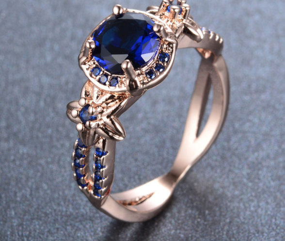 Rose Gold Filled Blue Sapphire Ring