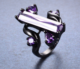 Black Gold Filled Purple Zircon CZ Ring
