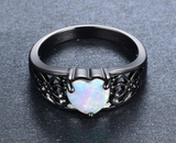White Opal Heart Black Gold Filled Ring