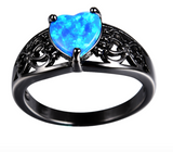 Blue Opal Heart Black Gold Filled Ring