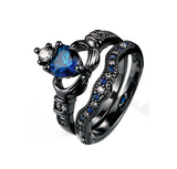 Blue Heart Zircon Black Gold Ring
