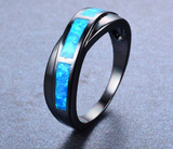 Black Gold Filled Classic Cross Blue Fire Opal Ring
