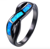 Black Gold Filled S Cross Blue Fire Opal Ring