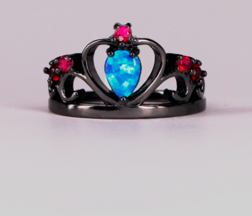 Blue Opal Red Cubic Zirconia Crown Black Gold Filled Ring