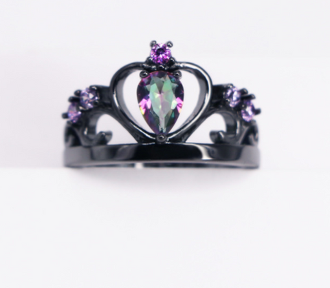 Rainbow Topaz Purple Cubic Zirconia Crown Black Gold Filled Ring