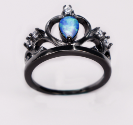 Blue Opal White Cubic Zirconia Crown Black Gold Filled Ring