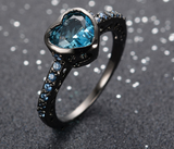 Blue Heart Lake Zircon Ring