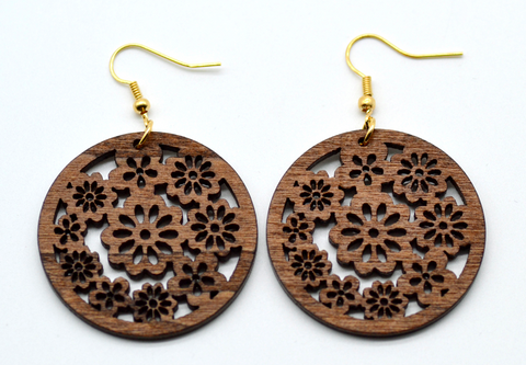 African Wood Leaf Earrings - 1 Pair