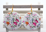 Round Wooden Flower Print Earrings - 1 Pair