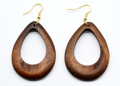 Handmade Wooden Eardrop Circular Earrings - 1 Pair