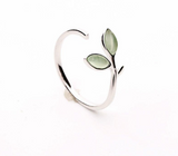 Silver Green Opal Leaves Buds Ring - 925 Sterling Silver