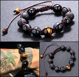 Obsidian & Tiger Eye Beads Bracelet