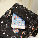 Star Universe Space Leather Print Backpack