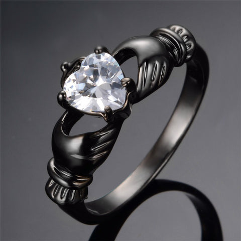 White Heart Zircon Black Gold Filled Ring