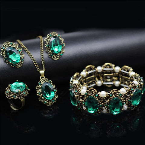 Vintage Jewelry Crystal Bronze Plated Set