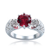 Unique Hollow Red Ruby Black and Silver Plated Ring