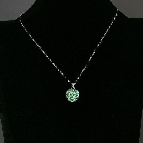 Luminous Hollow Heart Beads Necklace