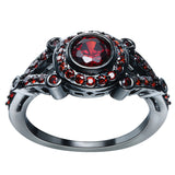 Black Gold Plated Ruby Zirconia Ring