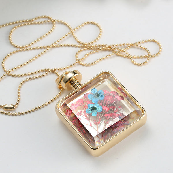 Pressed Flower Square Shaped Charm Pendant Necklace