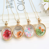 Pressed Flower Circle Shaped Charm Pendant Necklace
