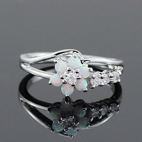 Silver White Fire Opal Flower Ring