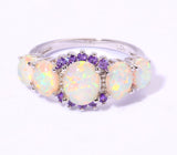 White Fire Opal Amethyst Ring